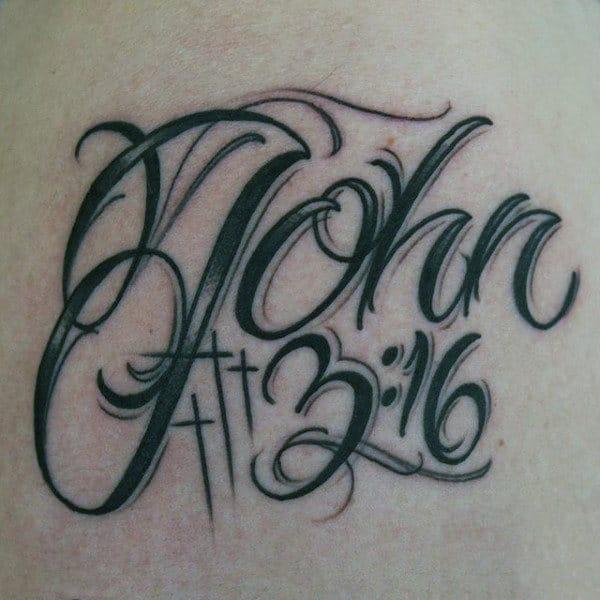 Cross With John 316 Mens Back Tattoo Ideas