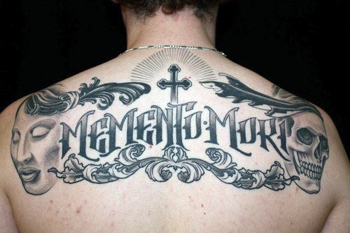 Cross With Memento Mori Mens Upper Back Tattoo Designs