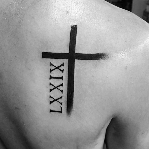 Cross With Roman Numerals Mens Back Tattoos
