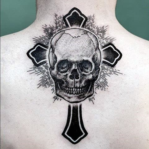 Cross With Skull Insane Dotwork Mens Tattoos On Back