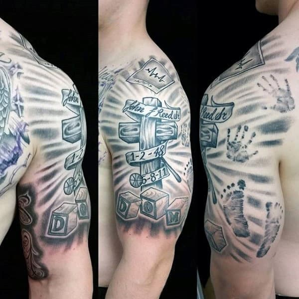 Cross With Toy Blocks Mens Handprint Tattoo Half Sleeve