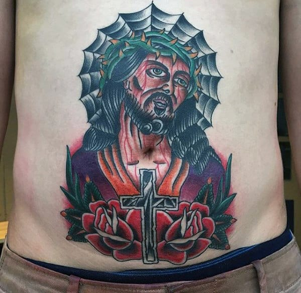 Cross With Traditional Jesus Mens Stomach Tattoo