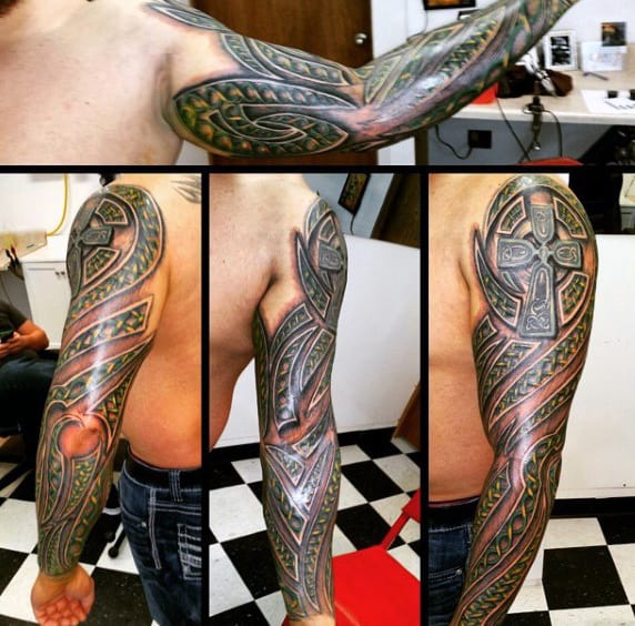 Cross With Tribal Celtic Design Mens Full Sleeve Tattoos