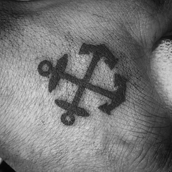 Crossed Anchor Small Mens Navy Hand Tattoos With Black Ink