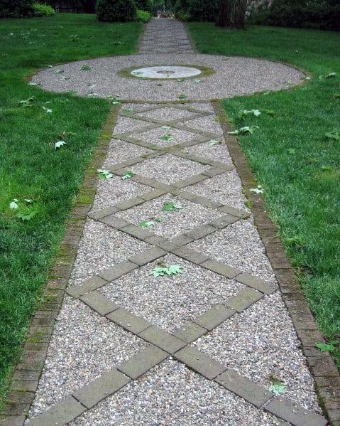 Crossed Stones Pattern Gravel Walkway Design Ideas