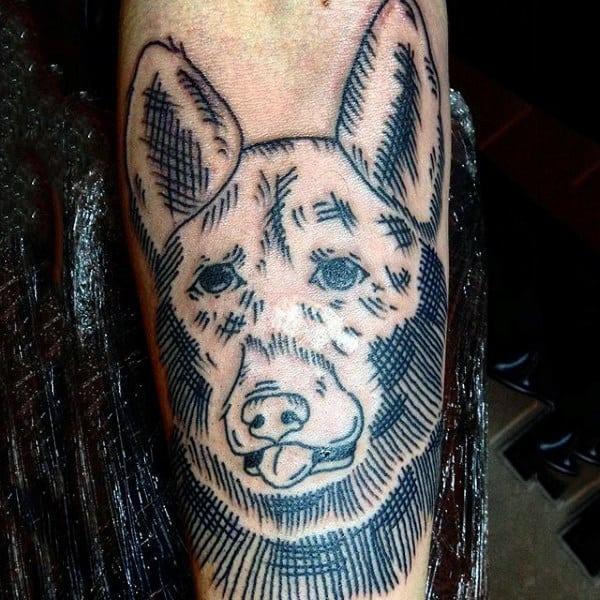 Crosshatch Mens Black Ink Lines Dog Arm Tattoo