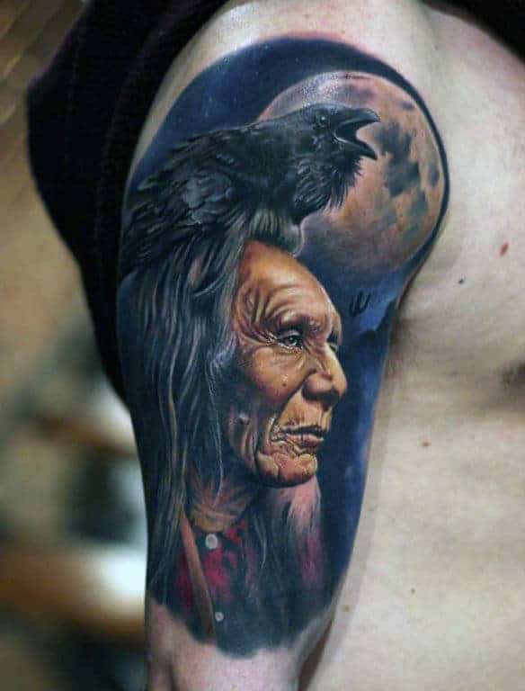 crow-and-red-indian-full-moon-quarter-sleeve-tattoo-men