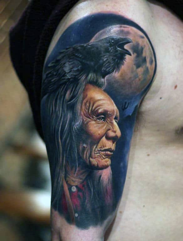 Crow And Red Indian Full Moon Quarter Sleeve Tattoo Men