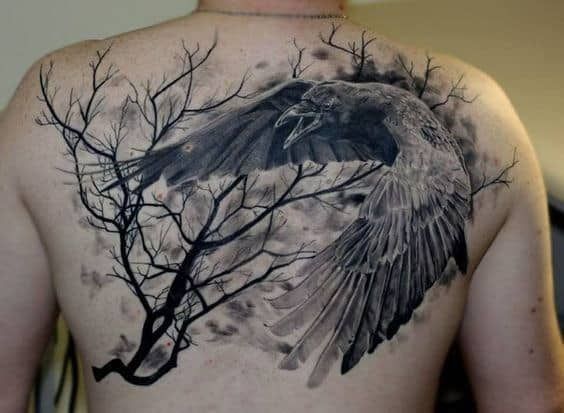 Crow And Tree Mens Shaded Realistic Back Tattoo