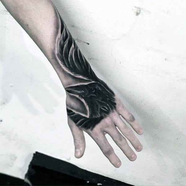 Crow Insane Mens Hand Tattoos