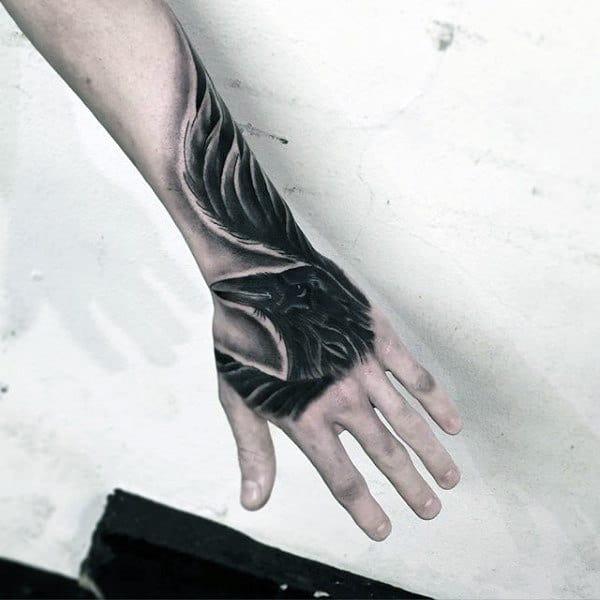 Crow Insane Mens Hand Tattoos