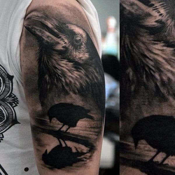 Crow Standing In Water Half Sleeve Tattoos For Men