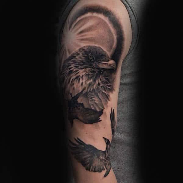 black bird tattoo designs for men