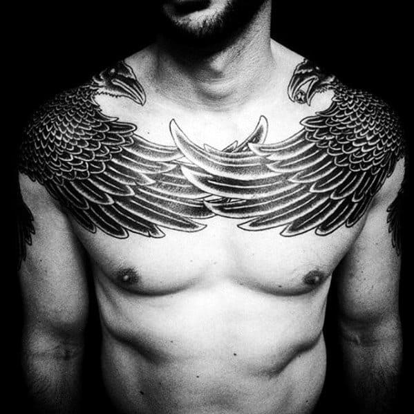 Crow Wings Mens Great Upper Chest And Shoulder Tattoo Ideas