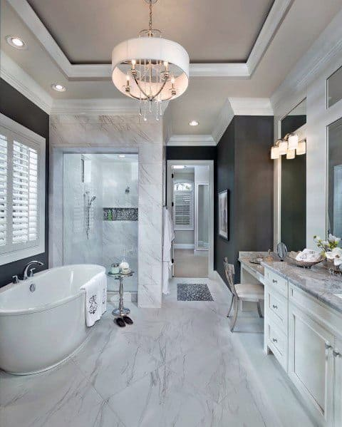 Crown Molding Spectacular Ideas For Master Bathroom With Trey Ceiling
