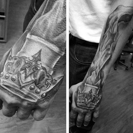 Crown With Blazing Fire Tattoo Forearms Guys
