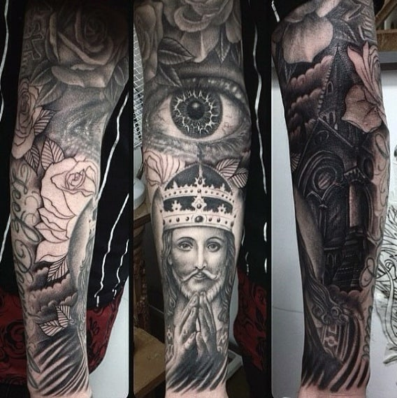 Crowned God And Roses Religious Tattoo Male Sleeves