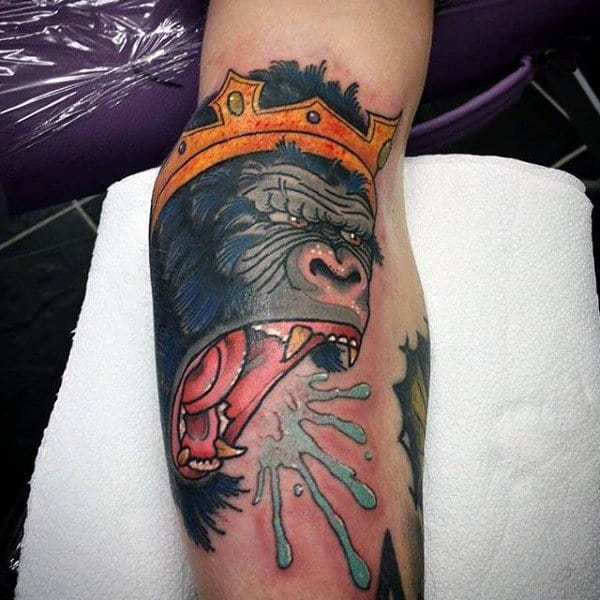 Crowned Gorilla Mens Tattoo On Arm