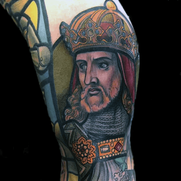 Crowned King Male Stained Glass Arm Tattoos