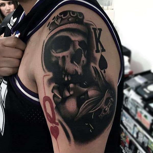Crowned Skull With King And Queen Symbol Tattoo Upperarms Male