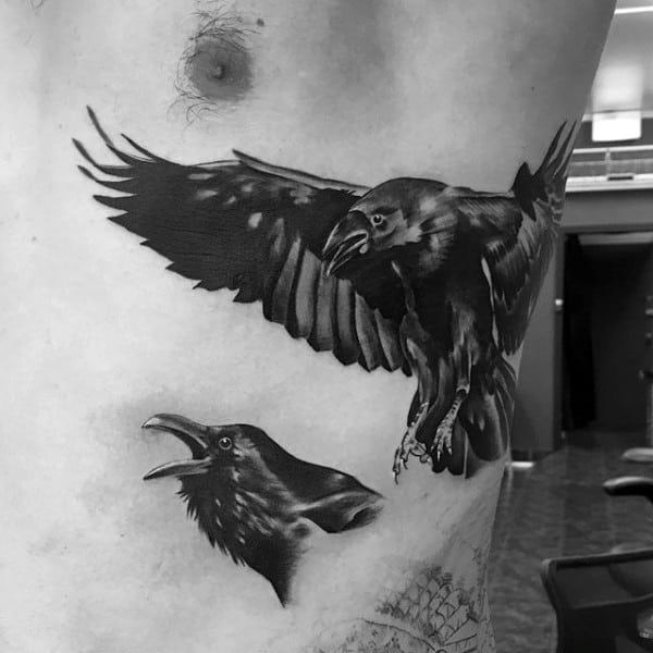 Crows Rib Cage Male Tattoo Design Inspiration