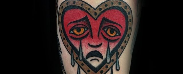Crying Heart Tattoo Designs For Men