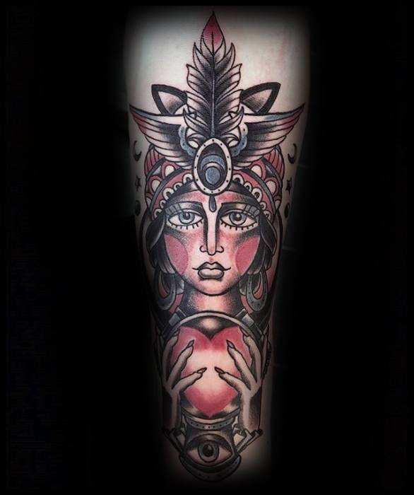 Crystal Ball Guys Tattoos Fortune Teller Design On Inner Forearm