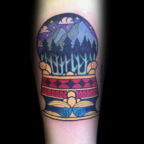 Crystal Ball Male Tattoo Designs With Nature Theme On Forearm