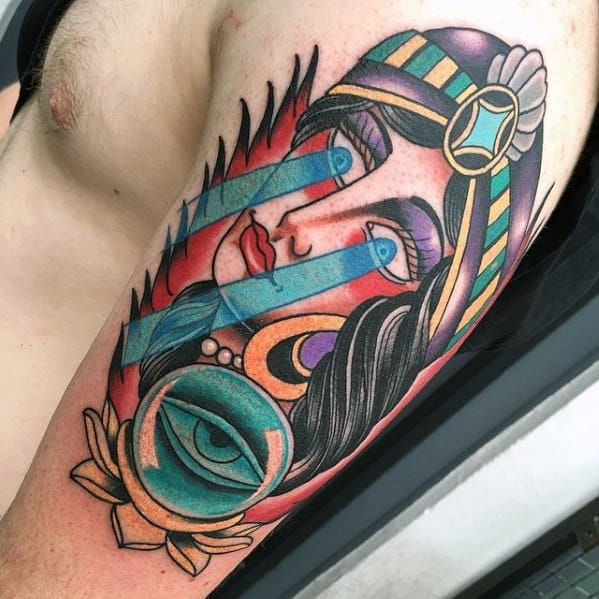 Crystal Ball Tattoo Design On Mans Arm