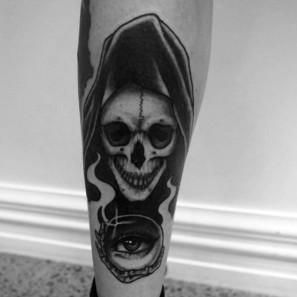 Crystal Ball Tattoo Ideas For Males On Back Of Leg