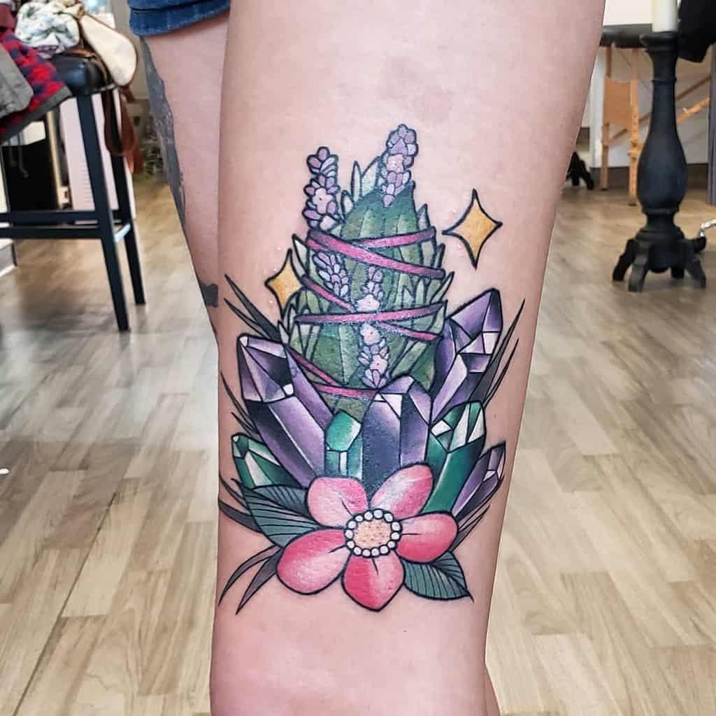 Crystal Colored Lavander Tattoo