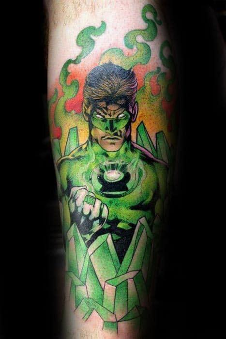 Crystal Green Lantern Mens Inner Forearm Tattoos