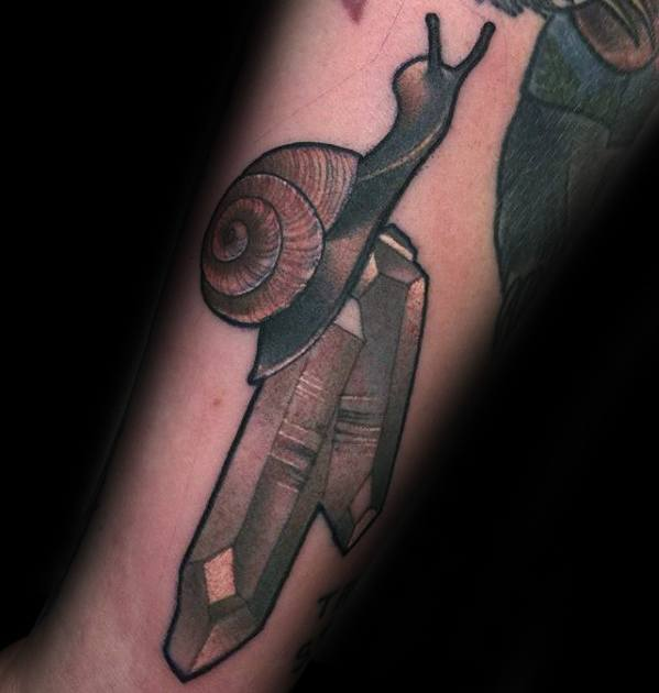 Crystals Forearm Mens Snail Tattoo Ideas