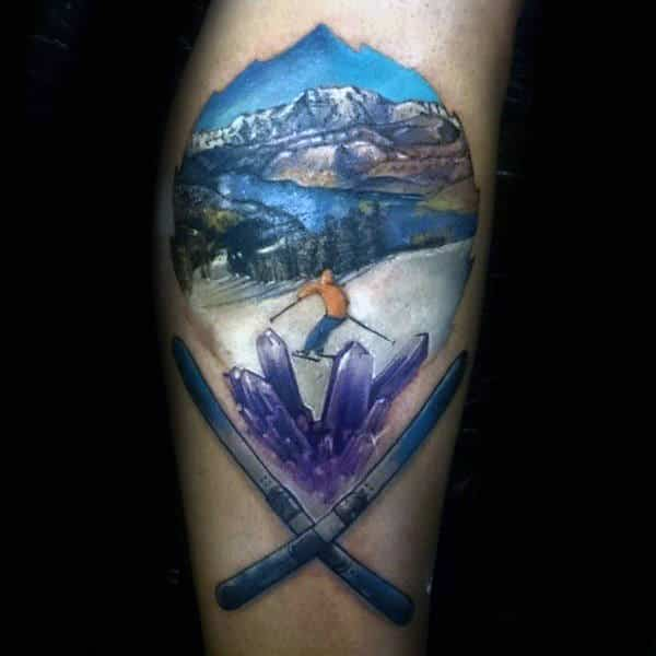 Crystals Mountain Slope Guys Skiing Arm Tattoos
