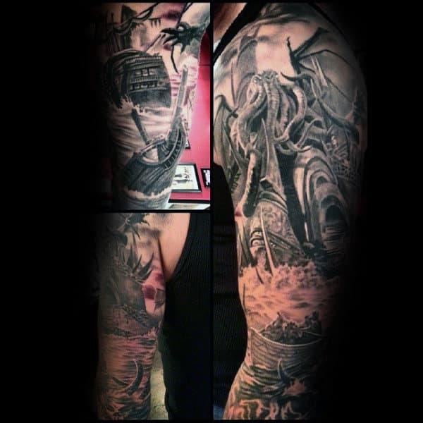 Cthulhu Attacking Sailing Ship Mens Amazing Realistic Full Sleeve Tattoos