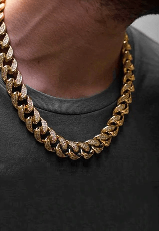 """15mm 20"""" diamond iced out cuban curb necklace chain - silver"""