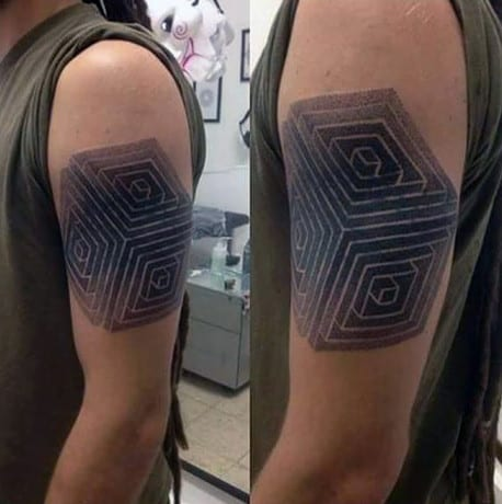 Cube 3D Dotwork Tattoo Male Arms