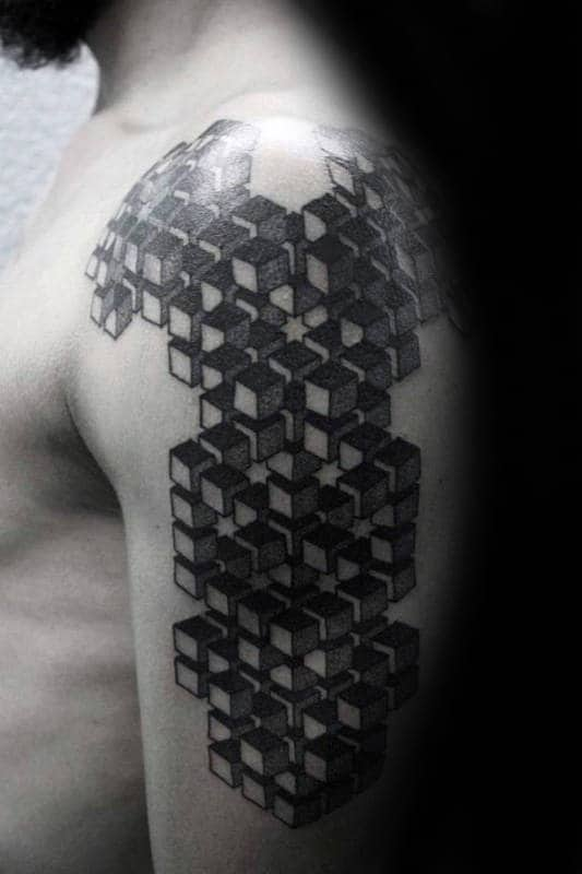 Cube Factal Mens Geometrical Tattoo Ideas On Arm