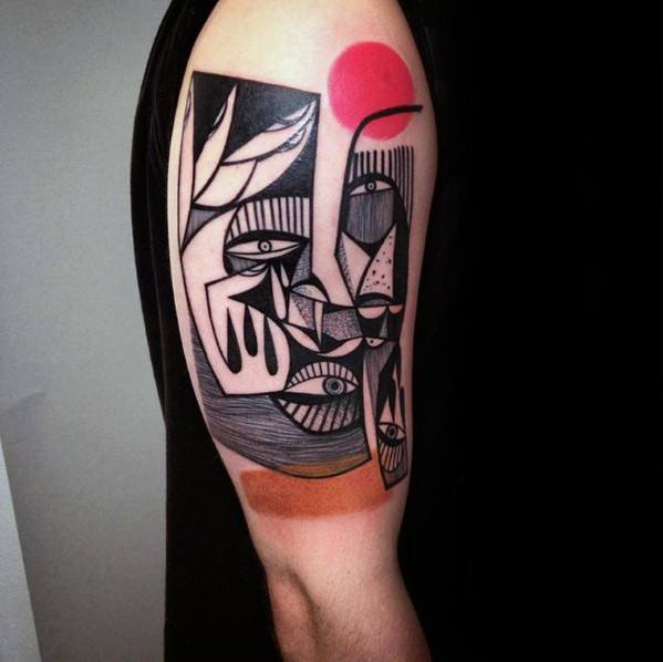 Cubism Guys Tattoo Designs On Arm