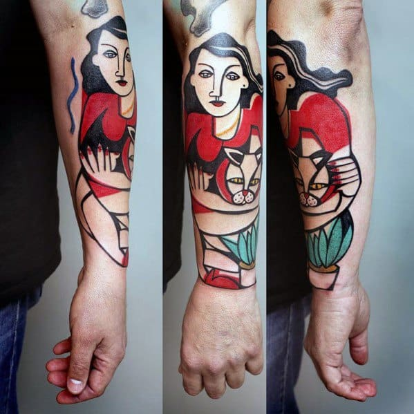 Cubism Male Tattoo Designs On Forearm