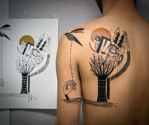Cubism Male Tattoos On Shoulder Of Back
