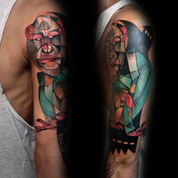 Cubism Mens Half Sleeve Tattoo Ideas