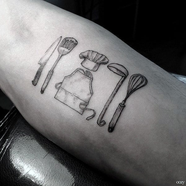 Culinary Themed Mens Chef Knife Arm Tattoos