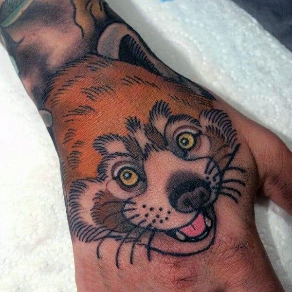 Cunning Orange Fox Head Tattoo Mens Hand