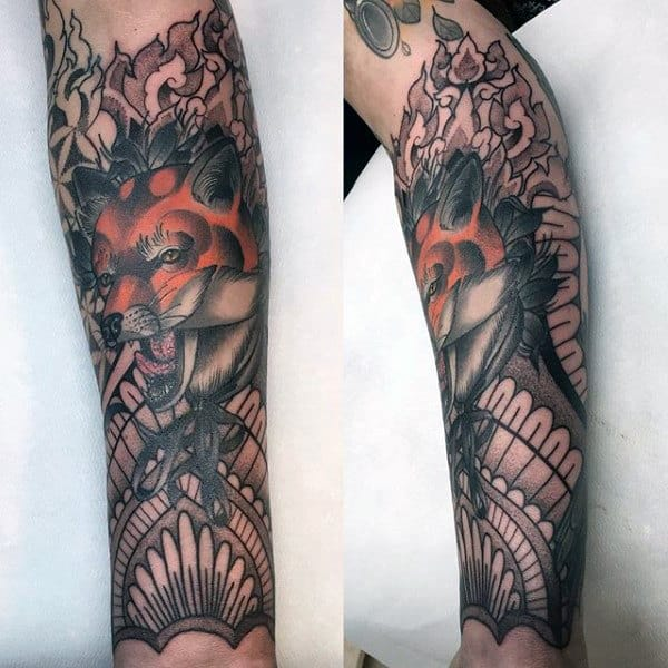 Cunning Orange Fox Tattoo Males Full Sleeves