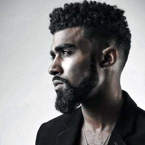 Curly Hair With Medium Beard Style For Black Guys