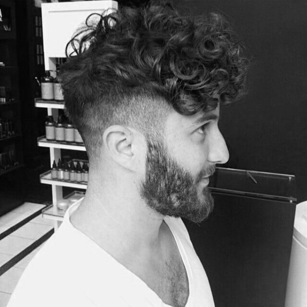Curly Undercut Beard Hair For Men