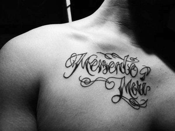 Cursive Memento Mori Male Upper Chest Tattoo Design