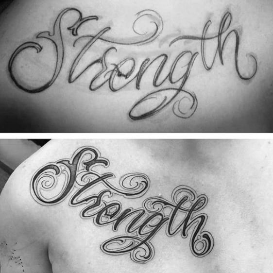 Cursive Strength Mens Decorative Upper Chest Tattoos