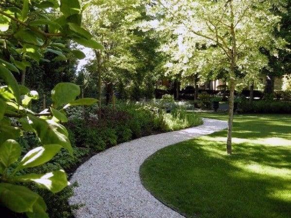 Curved Backyard Designs Gravel Walkway